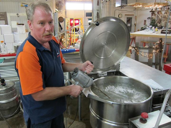 Steve Viezbicke Uses A Power Tool to Mix Potatoes