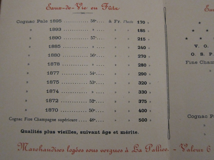 Late 1800's Cognac Barrel Price Sheet
