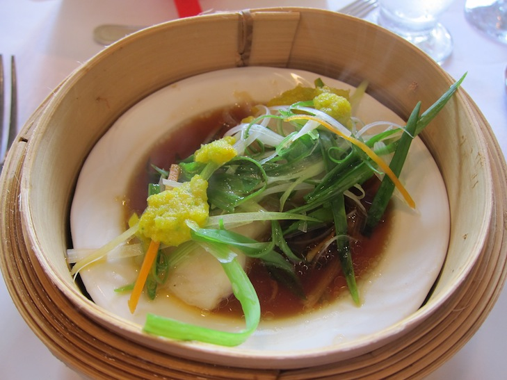 Bambo Steamed Fish with Ginger-Oyster Sauce, Lemongrass and Angostura
