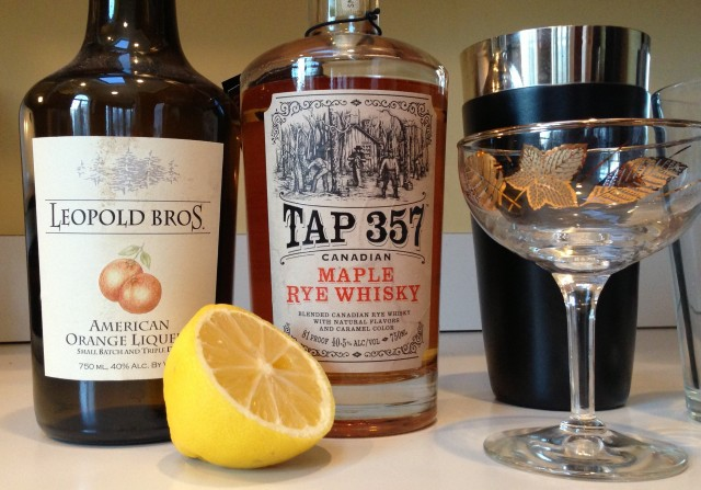 Tap 357 Canadian Maple Rye Whisky and Leopold Bros. Orange Liqueur Sidecar