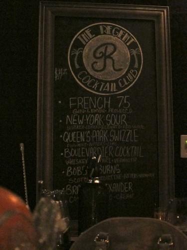 Regent Cocktail Club Menu